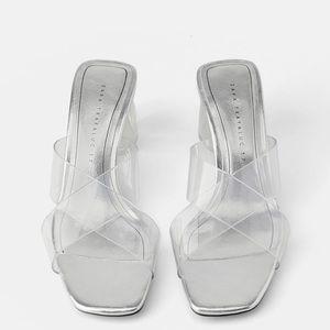 Zara geometric heel vinyl sandal sz 39 us sz 8